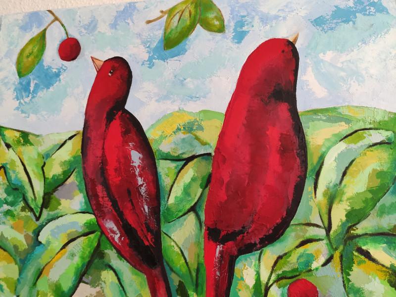 Carolina-Villagra-Roth - Bild zwei rote Vögel