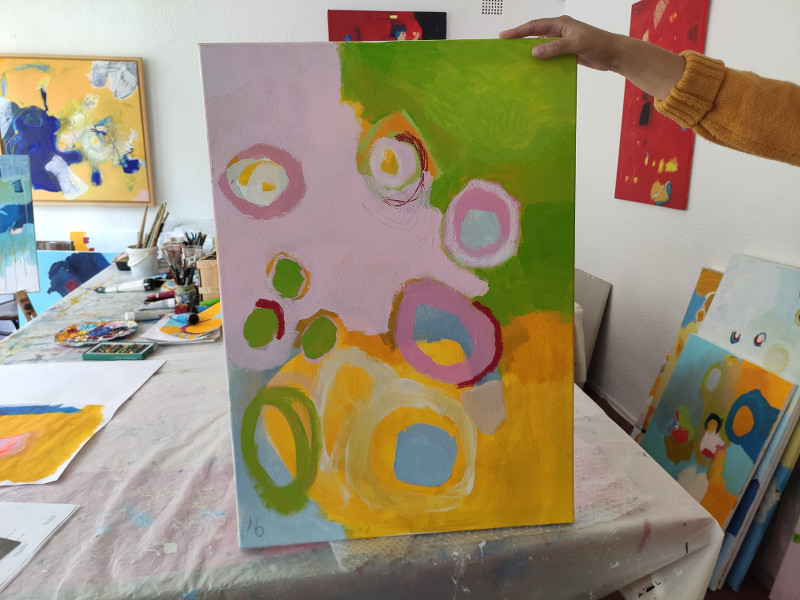 Nicole-Olsowski - Bild Farben gelb, grün, rosa, blau